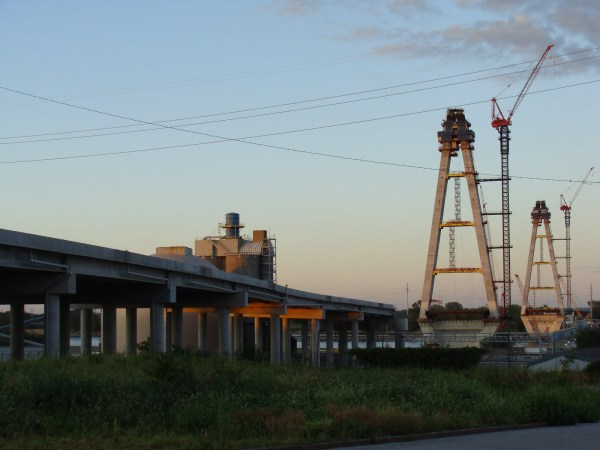 New Mississippi Bridge, Towers Almost Topped Out